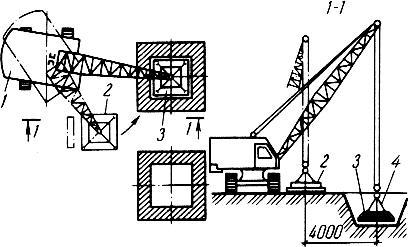 Схема монтажа стаканного фундамента стреловым краном