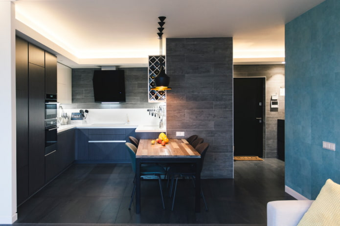 черная напольная плитка в интерьере кухни