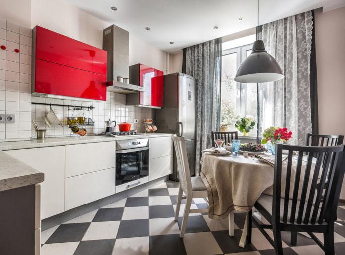 черно-белая плитка в интерьере кухни