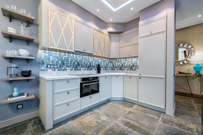 большая напольная плитка в интерьере кухни