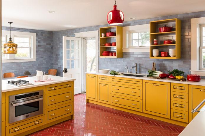 красная напольная плитка в интерьере кухни