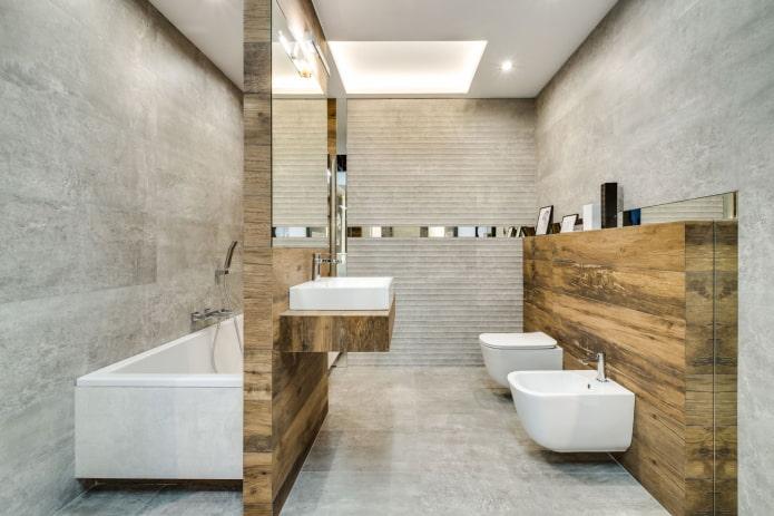 сочетание плитки под дерево с бетоном в интерьере ванной