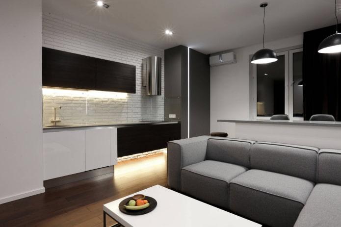 диван в интерьере кухни в стиле минимализм