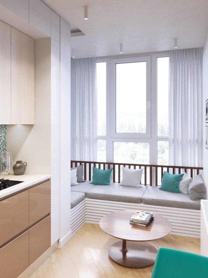 диван на кухне совмещенной с балконом