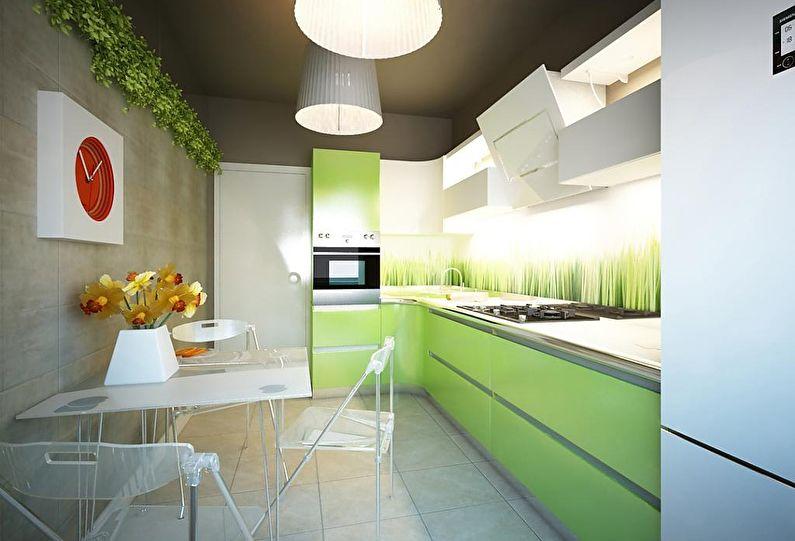 Маленькая кухня в зеленом цвете - дизайн интерьера