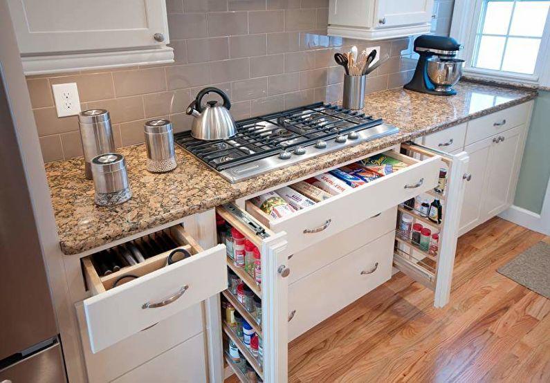 Системы хранения - дизайн маленькой кухни