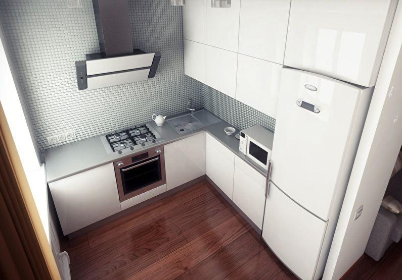 Идеи размещения холодильника - дизайн маленькой кухни