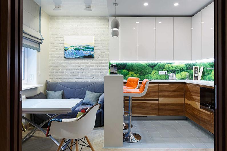 Совмещение маленькой кухни с гостиной - дизайн интерьера
