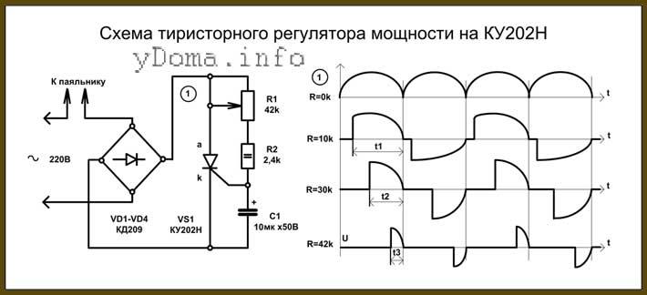 Схема классического тиристорного регулятора на тиристоре КУ202Н