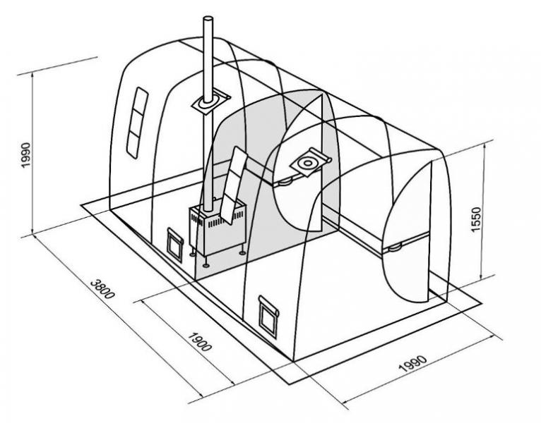 Схематический рисунок переносной бани, с несколькими помещениями