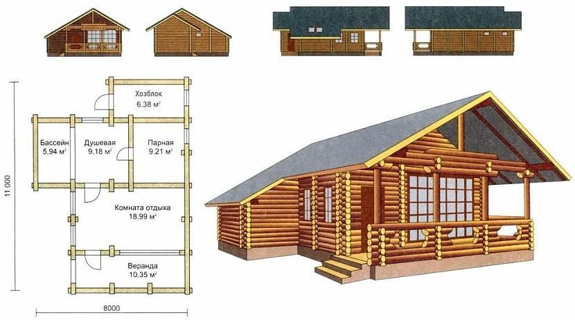 проект бани с хозблоком под одной крышей