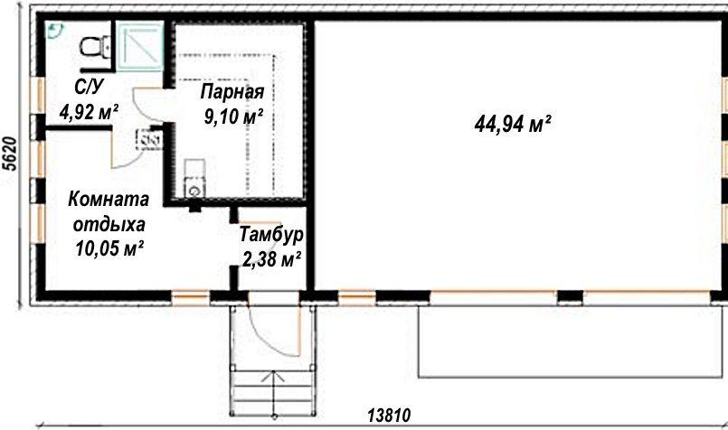 баня с сараем под одной крышей