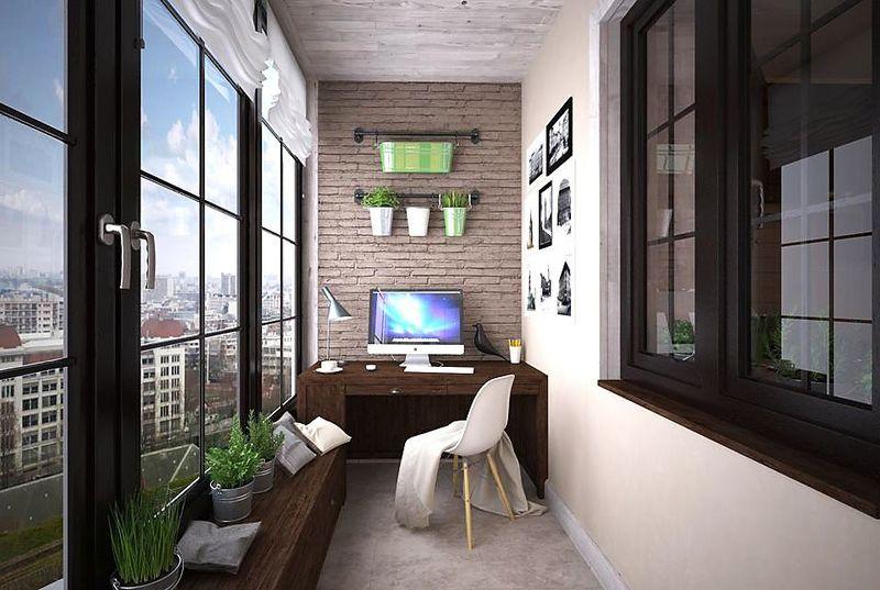 Фото: рабочий кабинет на балконе, комната на балконе