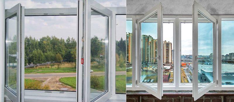 Фото: остекление балкона: штульповое окно (слева) и окно с импостом (справа), комната на балконе