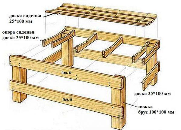 Скамейка для бани в парилку (приставная)
