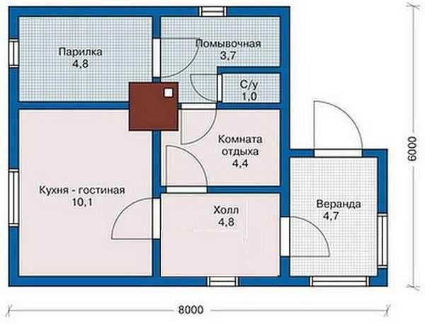 Большая кирпичная баня с комнатой для гостей
