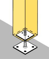 Схема установки компенсатора усадки под вертикальный столб из бруса