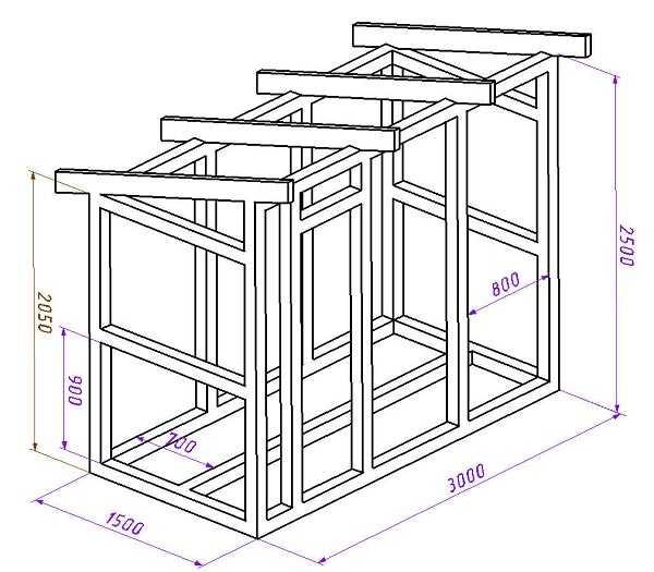 Сарай с односкатной крышей - чертеж со схемой расположения стоек