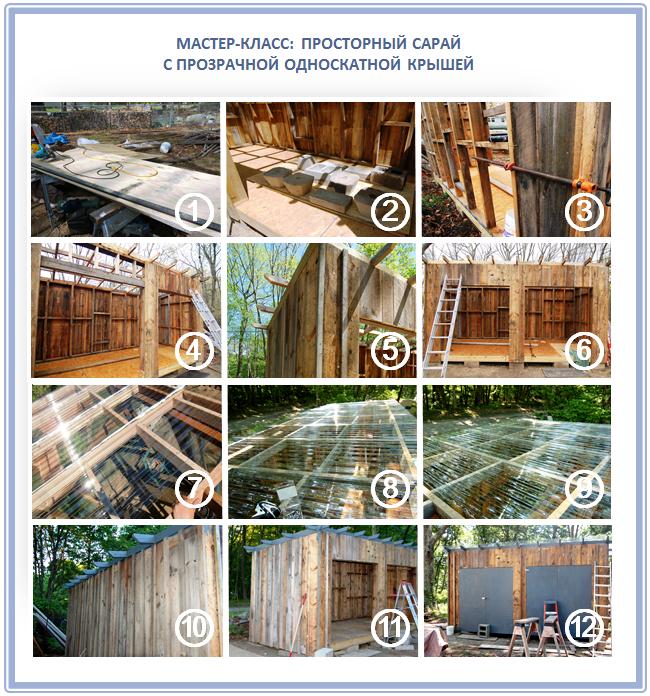 Как построить сарай с поликарбонатной крышей своими руками