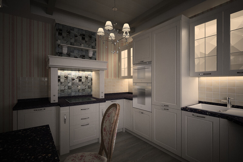 Дизайн кухни с вентиляционным коробом