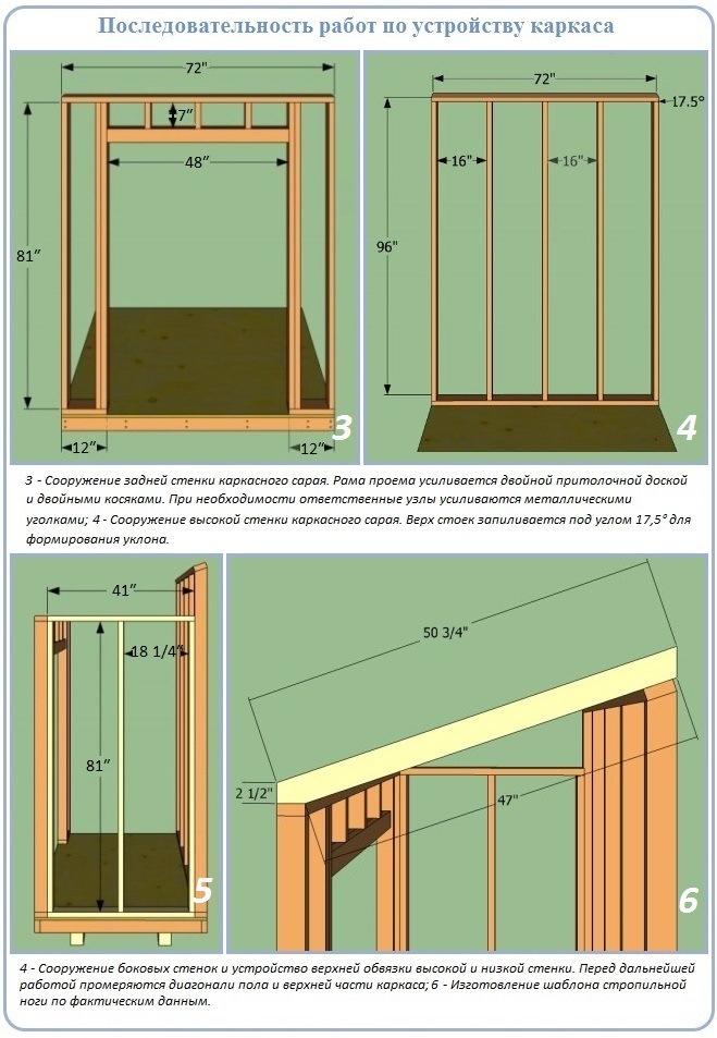 Как построить стены каркасного сарая с односкатной крышей