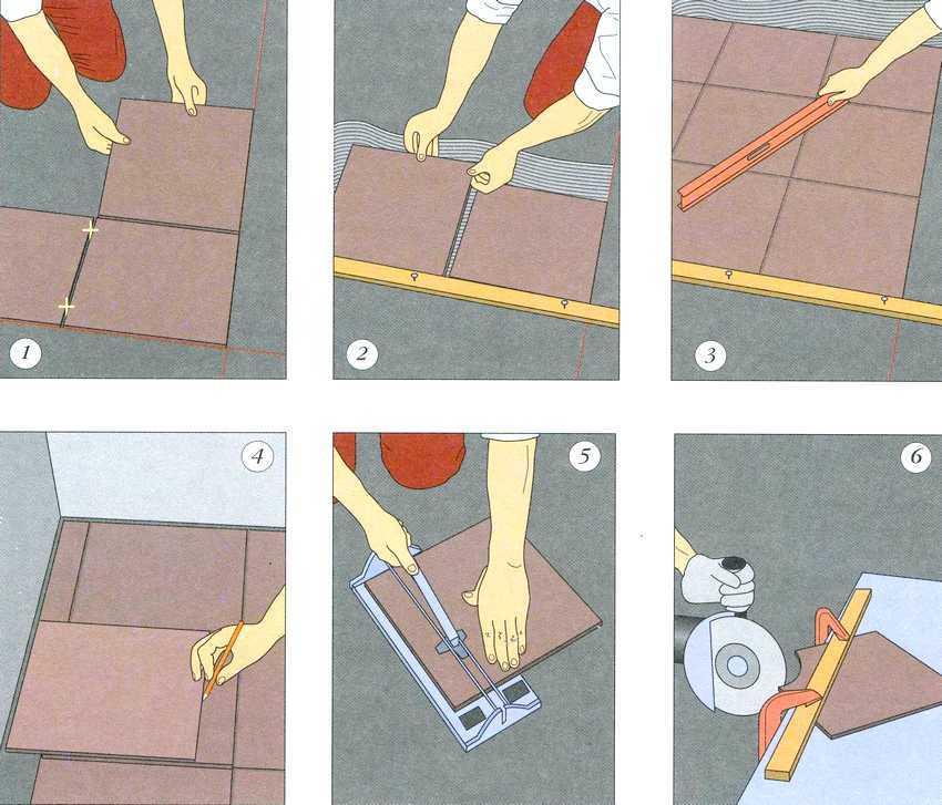 Порядок действий при укладке напольной плитки