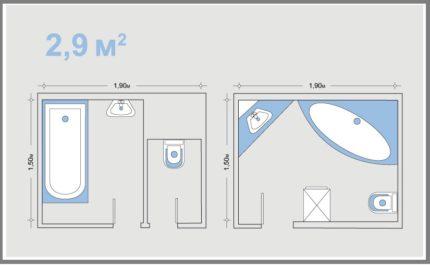Схема маленькой ванной комнаты