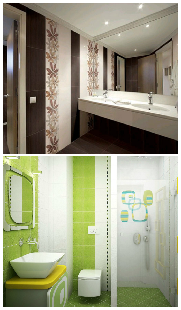 Отделка ванной пластиковыми панелями с фризом   имитацией кафельной плитки