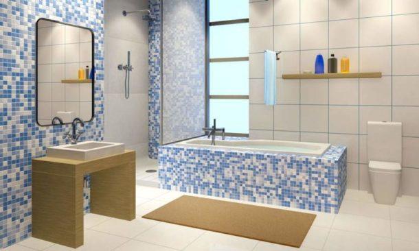 Выделение зон в ванной с помощью разной плитки