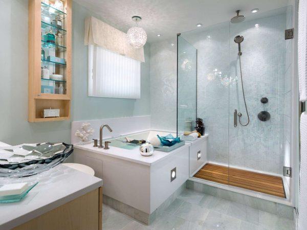 интерьер ванной комнаты с покраской