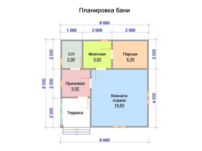 «Баня 6 на 6: проект, особенности и фото» фото - banya 6 6 6 800x600