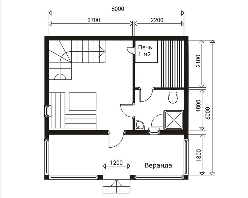 «Баня 6 на 6: проект, особенности и фото» фото - banya 6 6 7 800x640