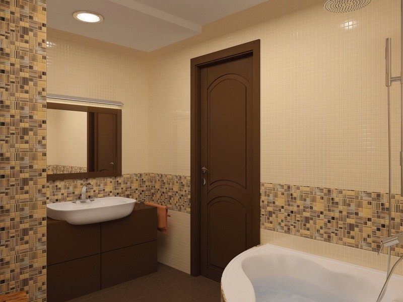 Мозаика в ванной комнате коричнево-бежевая