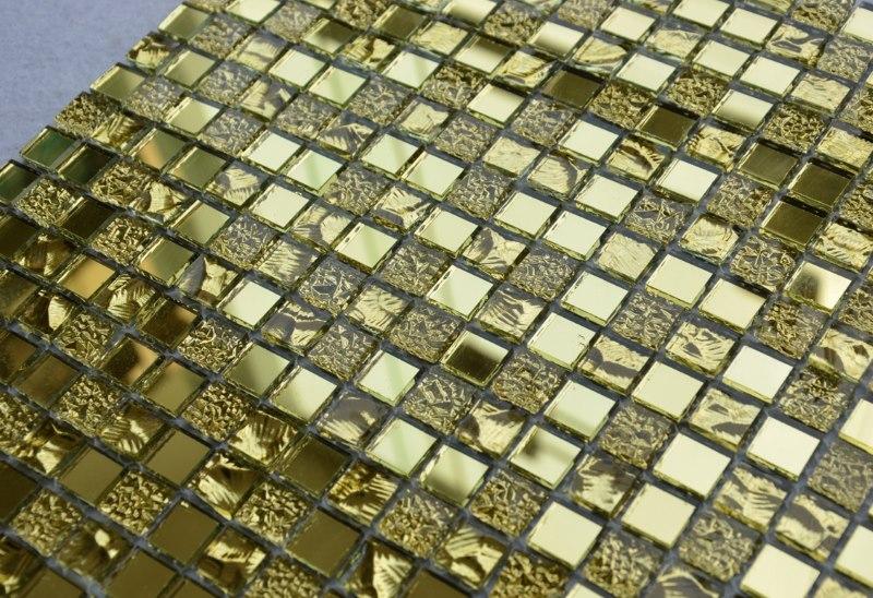 Лист стеклянной мозаики золотистого оттенка