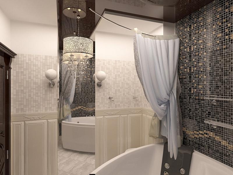 Панно из серой мозаики над акриловой ванной