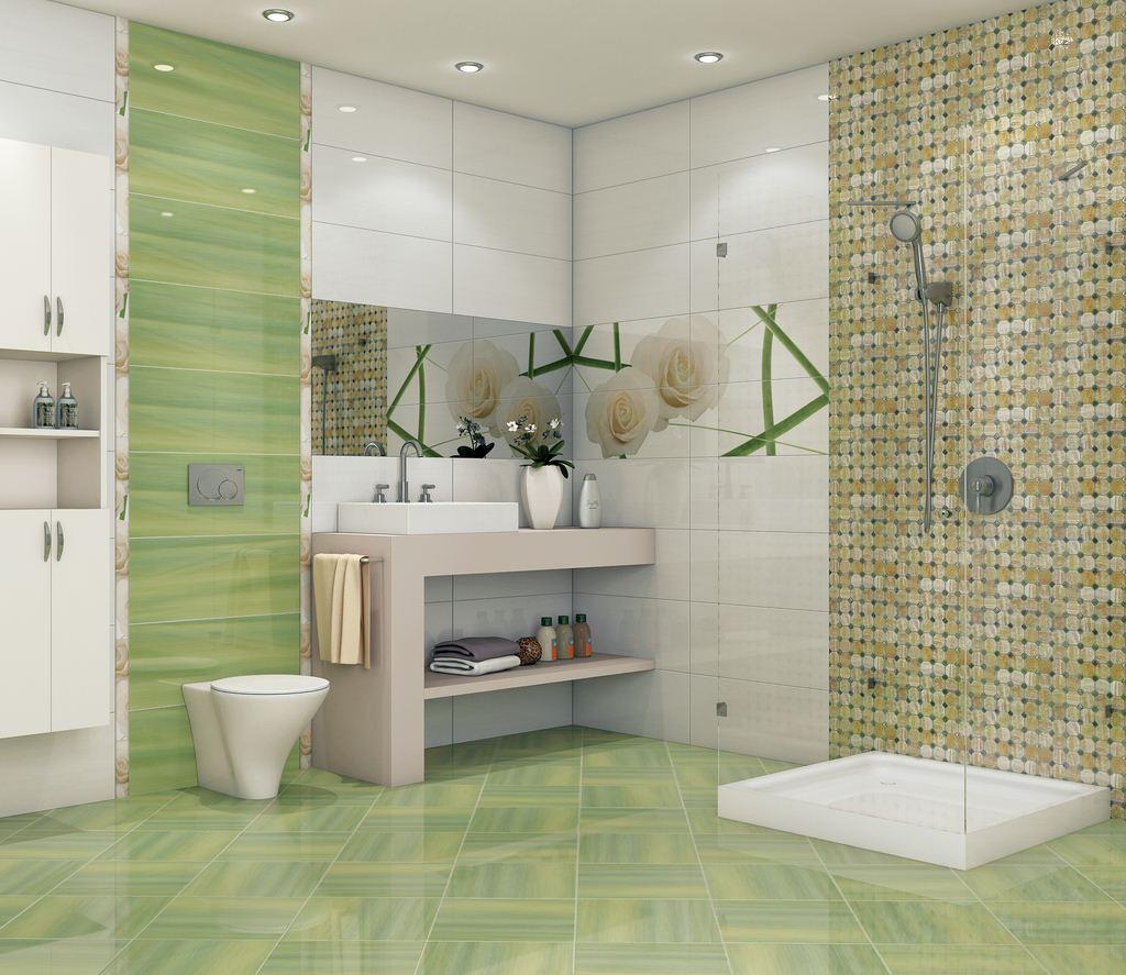 Мозаичная стена в душе стирает границы пространства в помещении