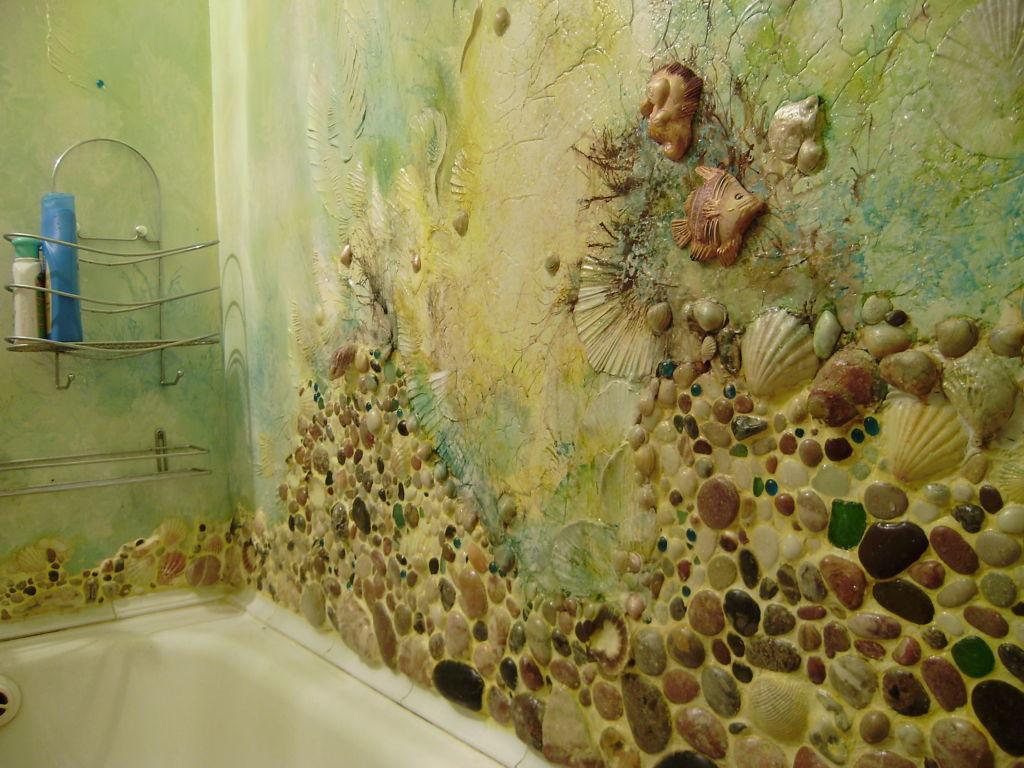 Ракушка придает интерьеру ванной необычный стиль