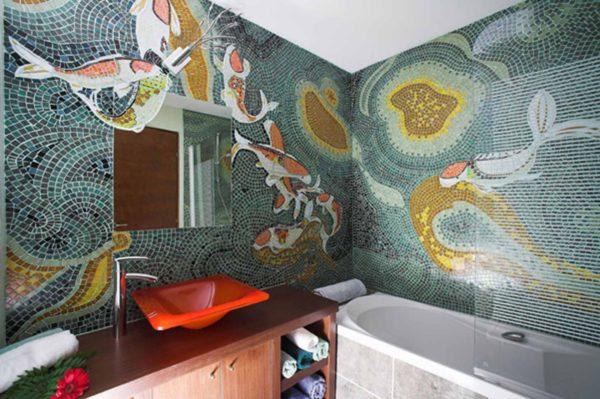 Настенная мозаика внутри санузла