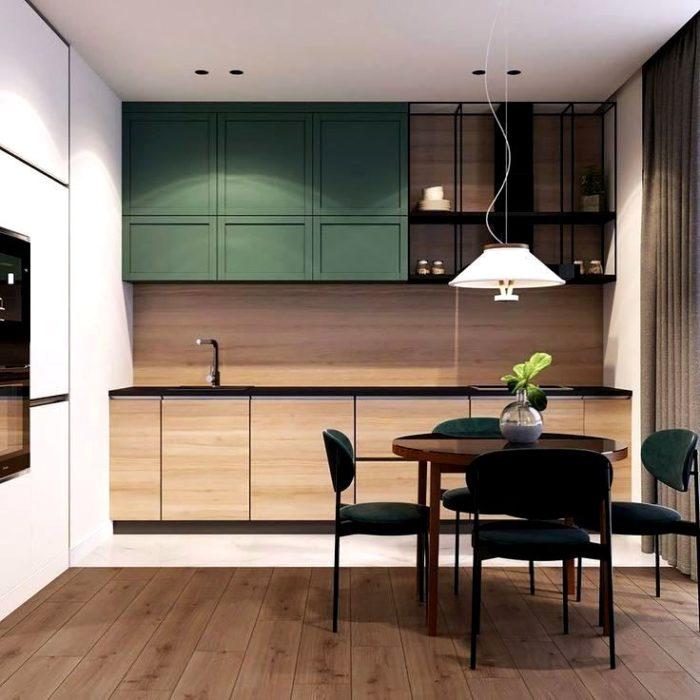 Дизайн кухни в цвете оксфордский зелёный