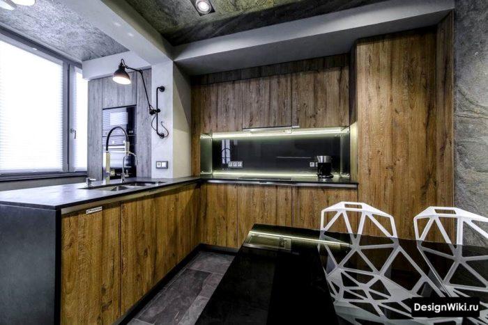 Современный дизайн кухни в стиле лофт