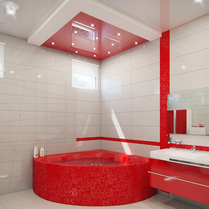 Красная мозаика в ванной комнате с белой плиткой
