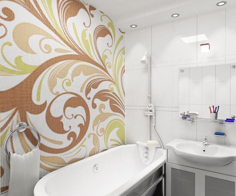 Дизайн ванной комнаты с мозаичным панно на стене