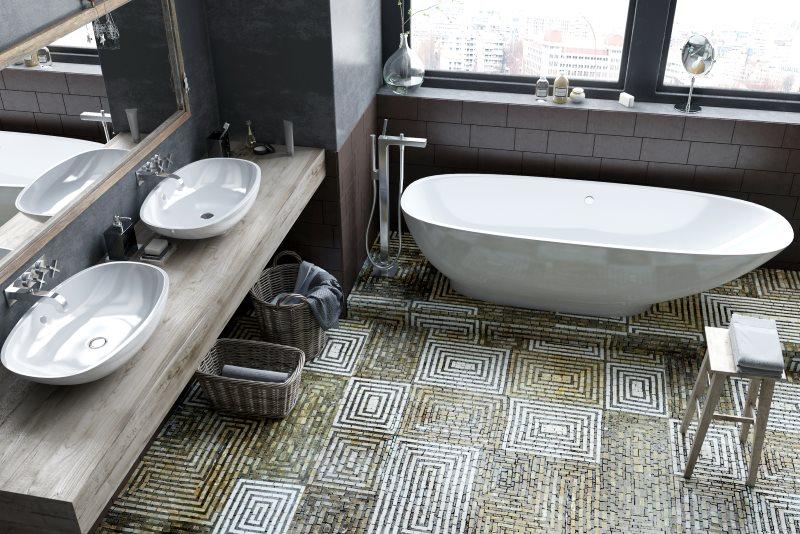 Пол из мозаики в ванной с двумя умывальниками
