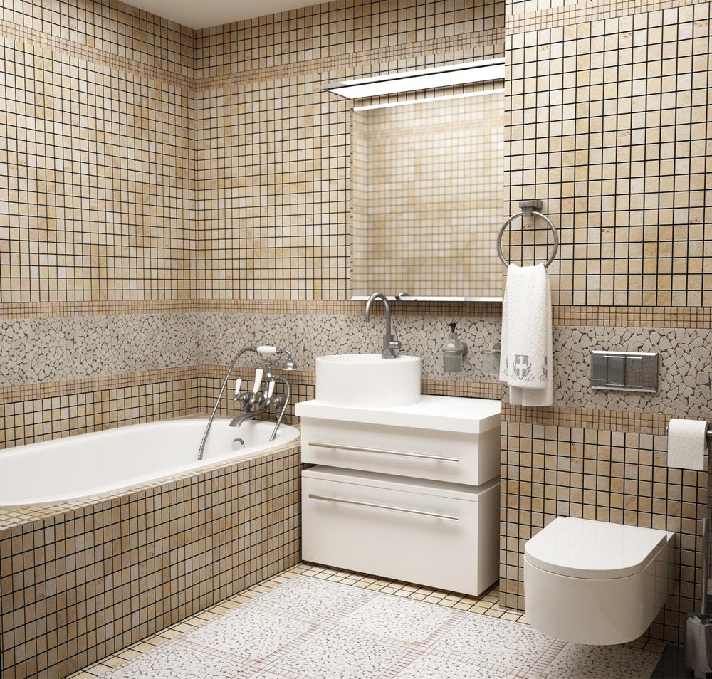 Белая сантехника в совмещенном санузле с мозаичной отделкой
