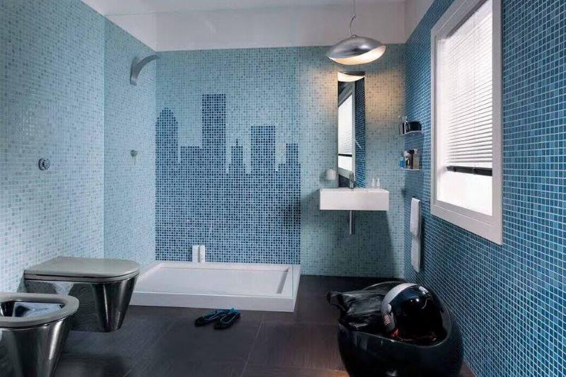 Декорирование стен ванной комнаты мозаикой из керамики