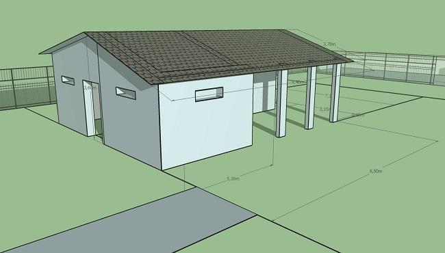 эскизный проект гаража с хозблоком и навесом с размерами