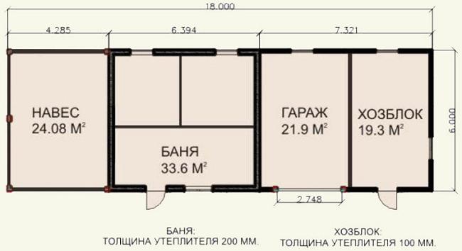 чертеж проект гаража с хозблоком и баней