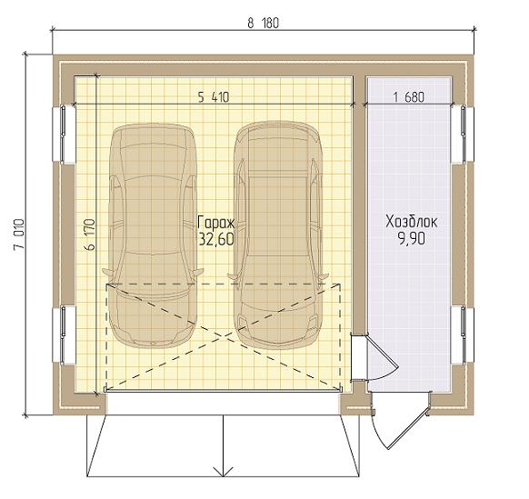 чертеж гаража для двух машин с хозблоком