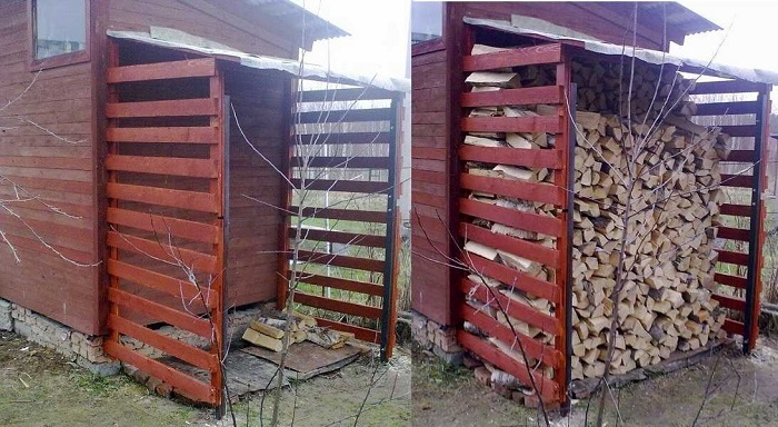 пристроенный дровяник к дому