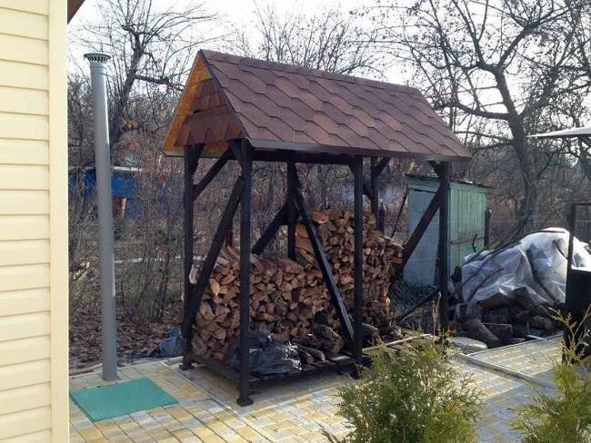 отдельностоящий дровяник на даче